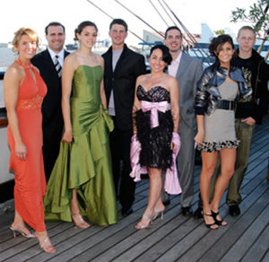 Models on the deck of the Moshulu: Dr. Michelle Eisenhower, Frank Natale, Christina Furia, William Huff, Kelly Ciccarelli, Bobby Capocci, Krystal Gregorio, Austin West