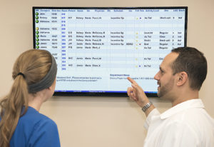 """The boards also """"tell"""" nurses when it is time for hourly rounds through a color-coded system"""